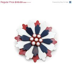 PRE HOLIDAY SALE Vintage Metal Enamel Flower by RetroRageVictoria, $12.80