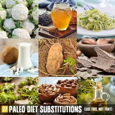 Going Paleo doesn't mean going without your favorite foods, it simply means you'll have to learn to find suitable substitutes for the things you love. Luckily there are workarounds for many of the most common Paleo no-nos. The Paleo diet doesn't. Paleo On The Go, How To Eat Paleo, Going Paleo, Paleo Recipes, Whole Food Recipes, Paleo Food, Paleo Diet Meal Plan, Food Substitutions, Dieta Paleo