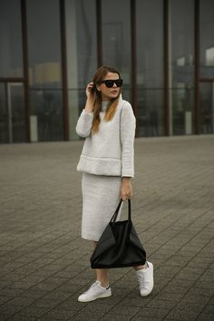 Co-ord fuzzy wool grey zara midi skirt top set adidas stan smith celine bag &otherstories sunglasses