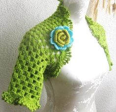 Elegant Spring Summer Shrug Bolero in lime green