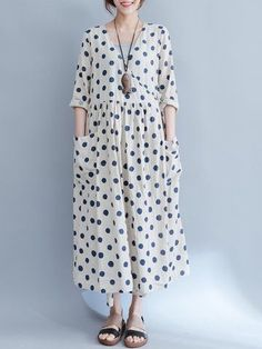 Big Pocket Blue Dot Loose Dresses – Linen Dresses For Women Maxi Outfits, Casual Outfits, Casual Clothes, Linen Dresses, Loose Dresses, Dresses Dresses, Casual Dresses For Women, Clothes For Women, Long Sweater Dress