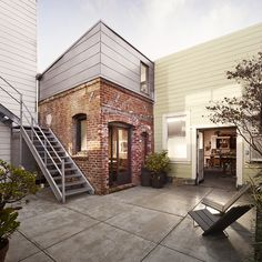 This tiny brick house in San Francisco, California has been converted into a 160 square foot small guest apartment by architect Christi Azevedo. Originally a laundry boiler room, the ground level floor space is approximately 93 sq. Architecture Design, Architecture Renovation, Tiny House Movement, Minimalist House Design, Minimalist Home, Microhouse, Tiny House Swoon, Boiler, Industrial Style