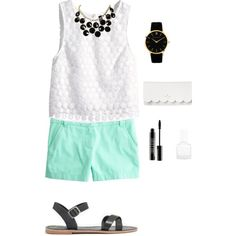 A pop of mint! by prestobowsandkeys on Polyvore featuring polyvore, fashion, style, H&M, J.Crew, Madewell, Kate Spade, Larsson & Jennings and Lord & Berry