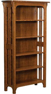 Amish Outlet Craftsman Mission 4 Shelf Bookshelf In Oak