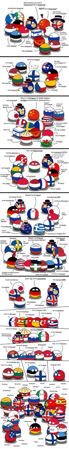 """How are they called?"" (Hong Kong,Finland,China,Hungary,France,Russia,Germaney) #polandball #countryball #flagball"