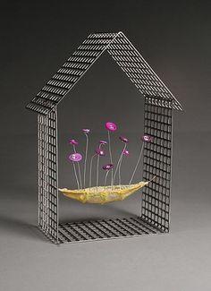 House with Purple Flowers: Julie Girardini, Ken Girardini: Metal Sculpture | Artful Home