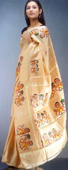 Hand-Painted Jamini Roy Sari