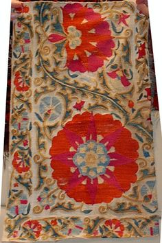 fragment of a larger suzani with silk embridery on cotton Textile Prints, Textile Design, Textile Art, Medieval Paintings, Indian Textiles, Ethnic Patterns, Ikat Fabric, Floral Rug, Surface Pattern Design