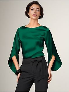 Emerald blouse. This is a wonderful color and it looks very comfy.