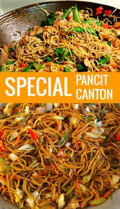 This Pancit Canton Recipe is a massive popular pancit in the Philippines and has been always an island-family favorite usually prepared for family gatherings parties pot-luck and almost served at any special event. Filipino Pancit, Filipino Dishes, Filipino Food Party, Lumpia Recipe Filipino, Chicken Adobo Filipino, Filipino Noodles, Pinoy Recipe, Habichuelas Guisadas, Comida Filipina