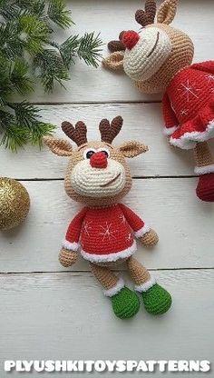 Cute little deer crochet pattern – Best Amigurumi Crochet Christmas Ornaments, Christmas Crochet Patterns, Holiday Crochet, Christmas Toys, Crochet Patterns Amigurumi, Crochet Dolls, Xmas, Crochet Deer, Cute Crochet