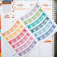 12 Colorful Weekend Banners Sticker Planner // Perfect for Erin Condren Life Planner by FasyShop on Etsy