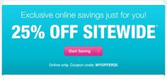 CVS: 25% off Sitewide Sale!  Online Only!