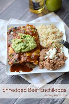 You will stop going out for Mexican food after you try these Shredded Beef Enchiladas, with homemade sauce, and juicy shredded beef.
