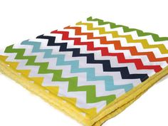 Rainbow Chevron with Yellow Minky Dot Neutral by LilBitsofSugar, $36.00