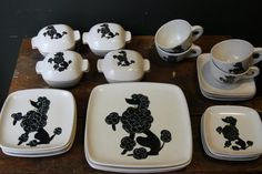 Perfect for a tea with blue and gold chsrgers-Dinnerware+Set+/+Mid+Century+GLIDDEN+POODLE+by+sevenbc