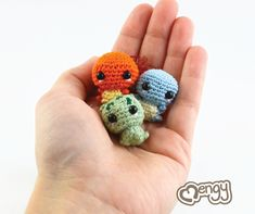 """Even big Charizard's, Venusaur's and Blastoise's gotta start out as little tiny babies! Their only attack is CUTE! It's super effective!  Each pokemon is handcrafted with crochet thread and the tiniest steel crochet hook available. They measure only 0.7"""" high."""
