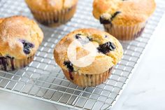 **These are delish! Substituted coconut oil and coconut sugar. Makes 10 muffins and took about 18 min. You only need one bowl to make this easy blueberry muffins recipe with blueberries, flour, sugar, vanilla, and vegetable oil. The best! Easy Blueberry Muffins, Blueberry Recipes, Mini Muffins, Blue Berry Muffins, Blueberry Breakfast, Strawberry Muffins, Blueberry Oatmeal, Oatmeal Muffins, Baked Oatmeal