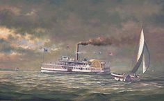"""""""Down the Bay"""" by Paul McGehee. The Chesapeake Bay steamer """"Emma Giles"""" passing Thomas Point Lighthouse in the summer of Z Secondary Market, Chesapeake Bay, Yesterday And Today, Steamer, Day Trip, Old Photos, Lighthouse, City, Baltimore"""