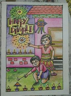 Oil Pastel Colours, Oil Pastel Art, Oil Pastel Drawings, Colorful Drawings, Scenery Drawing For Kids, Easy Drawings For Kids, Art Drawings Sketches Simple, My Drawings, Diwali Festival Drawing