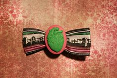 Death Heart  Pink and Green by RiotGearHairBows on Etsy, $8.00