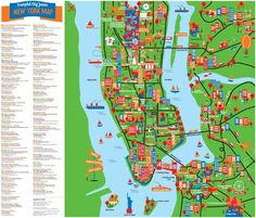 New York city large detailed tourist attractions map. Large detailed New York tourist attractions map. Large detailed tourist attractions map of New York city (NY, NYC). New York City Map, New York City Travel, New York Mets, New York Tourist Attractions, Tourist Map, Attraction World, Voyage New York, Nyc With Kids, New York Trip