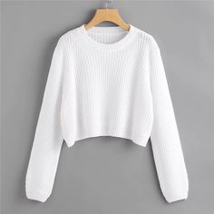 SheIn offers Loose Fit Crop Jumper & more to fit your fashionable needs. SheIn offers Loose Fit Crop Jumper & more to fit your fashionable needs. Crop Pullover, Cropped Sweater, Long Sleeve Sweater, Loose Sweater, Cropped Jumpers, Crop Top Outfits, Cute Casual Outfits, Teen Fashion Outfits, Girl Outfits
