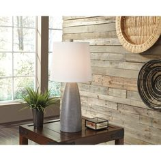 Signature Design by Ashley Shavontae Gray Poly Table Lamp (Set of 2)