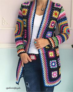 Crochet Granny Square Jacket Tutorial Pattern // no tutorial that I could under stand  - would really love a pattern for this