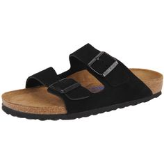 Birkenstock Arizona ($135) ❤ liked on Polyvore featuring shoes, sandals, black suede, suede sandals, black strappy sandals, birkenstock, cork footbed sandals and strappy sandals