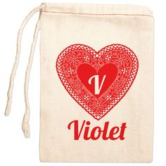 Personalized Gift Bag: Lace Heart Red