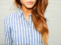 Loose curls and a button up seems like just the thing for everyday style!     By Elise Rogers