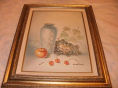 Oil Painting on Canvas With Frame Still Fruits by Artist Ridgecey 1986  |