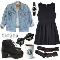 Vestido preto + jaqueta jeans + bota + meia