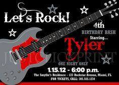 Rock Band Guitar Birthday Invitation  by justclickprintstudio, $15.00