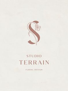 this one is quite nice - Studio Terrain Logo Lettering, Typography Logo, Logo Branding, Logo Inspiration, Logo Minimalista, Logo Simple, Flower Logo, Wedding Logos, Minimal Logo