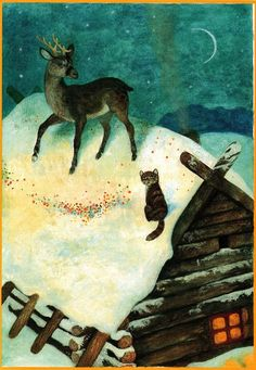 Aleksandr Koshkin deer and cat on a roof of log cabin winter