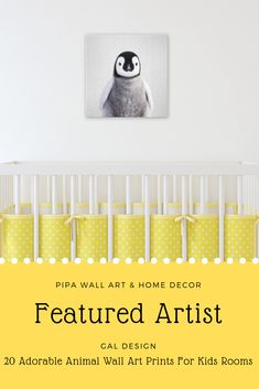 20 Adorable Animal Portraits - Featured Artist - Gal Design. Wall decorating ideas for kid' bedrooms, nurseries, and playrooms. #wallartkids #wallartchildren #wallartkidsbedrooms #wallartnursery #wallartplayrooms #babyanimal