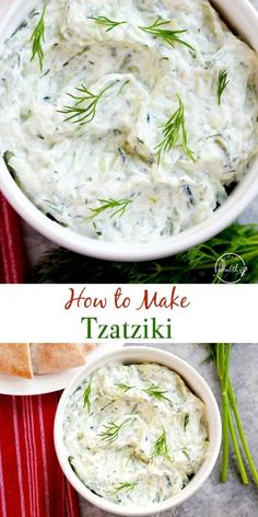 How to Make Tzatziki (Greek yogurt + cucumber dip) How to make tzatziki - a cucumber and yogurt sauce that is common in Greek and Mediterranean cuisine. Tzatziki goes great on so many things, and it is truly so versatile. Tzatziki Recipes, Cucumber Recipes, Cucumber Dip, Greek Tzatziki Recipe, Cucumber Yogurt Sauce, Recipes With Dill, Vegan Tzatziki, Mediterranean Diet Recipes, Mediterranean Dishes
