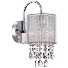"Silver Line Shade 12"" High Chrome and Crystal Wall Sconce"