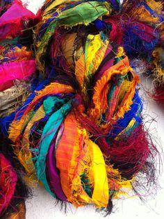 Recycled sari silk ribbon. Unique eyelash edging. by Yarnyarnyarns