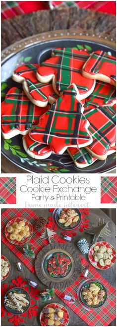 We are Mad for plaid this year and we turned that into a theme for our Christmas cookie exchange. Plaid table decorations, free cookie exchange recipe cards, and plaid sugar cookies. Check out how to host a cookie exchange and download our free printable recipe cards for your next party. SharetheHoliday | AD