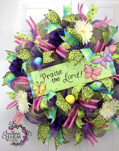 Deco Mesh EASTER Wreath Praise the Lord Sign Lime Green Purple Eggs by Southern Charm Wreaths