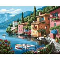 Dimensions Paint By Number Kit 20 Lakeside Village - Painting Lakeside Village, Mosaic Crosses, Paint By Number Kits, Paint By Numbers, Art Supply Stores, Diy Painting, Artist Painting, Landscape Paintings, Wall Paintings