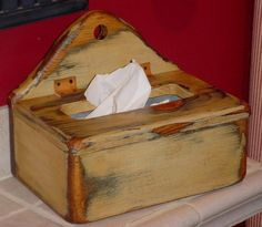 PRIMITIVE Wood Tissue Box Cover - ANY COLOR