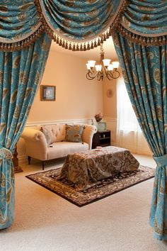 """""""Bleu Fleur De Lis"""", Luxury Chenille Damask Valance Curtain Set with Swags and Tails, X Venetian Collection Fancy Curtains, Damask Curtains, Swag Curtains, Elegant Curtains, Cheap Curtains, Bedroom Curtains, Decorative Curtains, Beautiful Curtains, Country Curtains"""