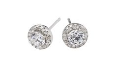 Sterling silver and cubic zirconia halo studs