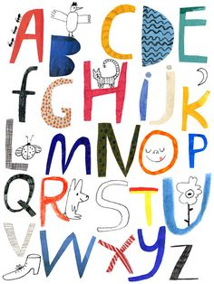 Alphabet poster giclee print by Emma Lewis Typography Letters, Graphic Design Typography, Hand Lettering, Alphabet Art, Alphabet And Numbers, Alphabet Posters, Alphabet Design, Hand Drawn Type, Design Graphique
