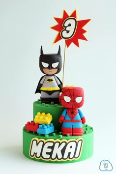 Batman & Spiderman. Lego cake