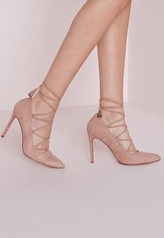 Lace Up Pointed Court Shoes Blush